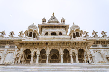 Jaswant Thada. Ornately carved white marble tomb