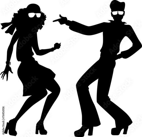 Disco couple silhouette