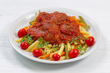 Fresh Penne Pasta and Meatballs