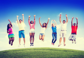 Group Friends Outdoors Celebration Winning Victory Jump Concept