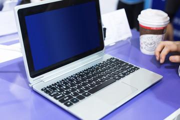 modern laptop on technology exhibition