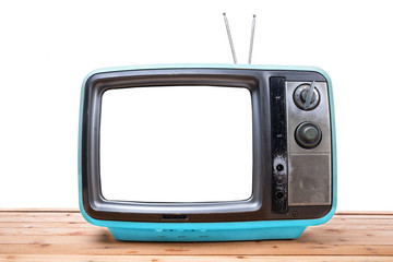 Blue Vintage TV on wood table