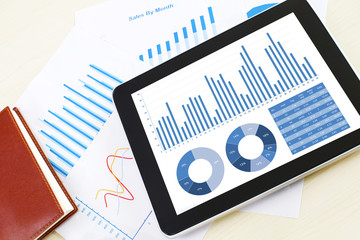 business financial chart and graphy report display in mobile dev
