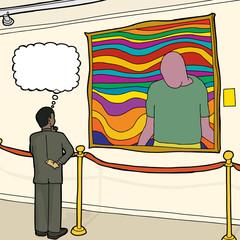 Thinking Man Looking at Art