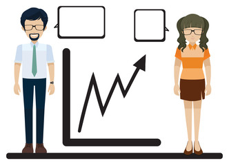 A line graph with a man and a woman
