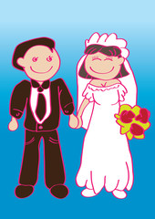 Wedding Couple Cartoon Vector Illustration
