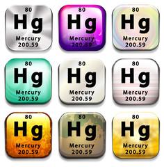 A button showing the element Mercury