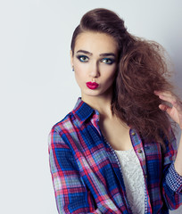 fashion photo girl with red lips bright makeup and stylish hair