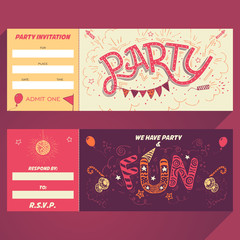 Party hand-lettering invitation ticket