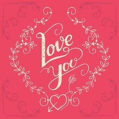 Love you hand-lettering card