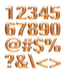 Gold metallic font. Number set