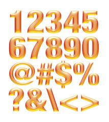 Yellow orange metallic font. Number set