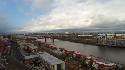 Portland Aerial Cityscape Downtown