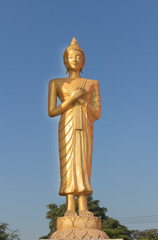 Golden Buddha standing and touching the chest