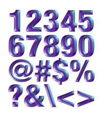 violet blue metallic font. Number set