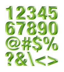 Green metallic font. Number set