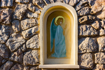 Aedicula with painted angel  in Medjugorje