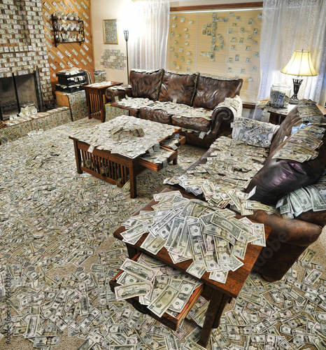 Sitting room filled with money - 76458336