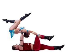 Sexy Santa and Maiden performs acrobatic stunts