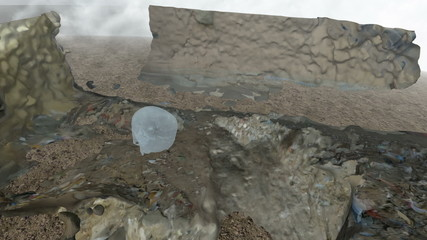 cyan Crystal Skull in Waste Land between the clouds