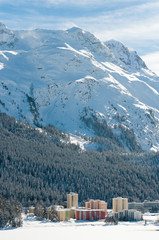 St Moritz, Alpine Alps mountain landscape. Beautiful winter view