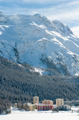 St Moritz, Alpine Alps mountain landscape. Beautiful winter view