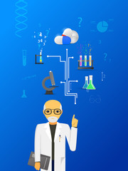 science and medicine infographic on blue background.(big pills v