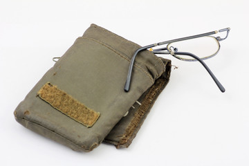 old bent glasses  green pouch