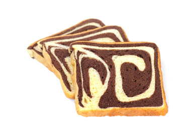Raisin chocolate bread on white background - Stock Image
