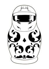 matreshka in helmet bw
