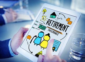 Retirement Insurance Digital Devices Technology Concept