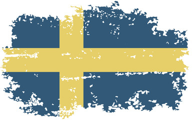 Swedish grunge flag. Vector illustration.