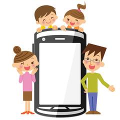 家族とスマートフォン