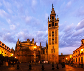 Dawn view of  Giralda tower. Seville, Spain