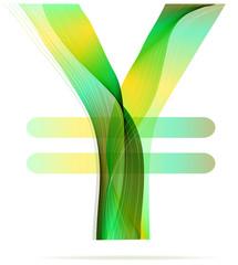 Green abstract Yen sign