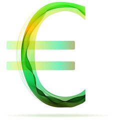 Green abstract Euro sign