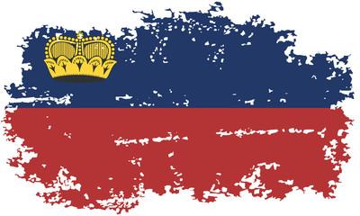 Liechtenstein grunge flag. Vector illustration.