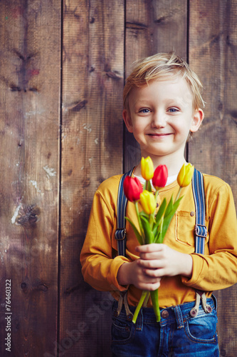 canvas print picture Boy with tulips