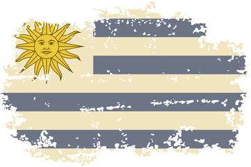 Uruguayan grunge flag. Vector illustration.