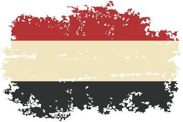 Yemeni grunge flag. Vector illustration.