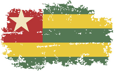Togo grunge flag. Vector illustration.