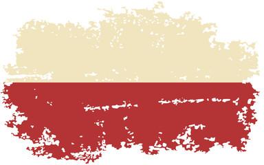 Polish grunge flag. Vector illustration.
