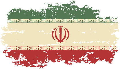 Iranian grunge flag. Vector illustration.