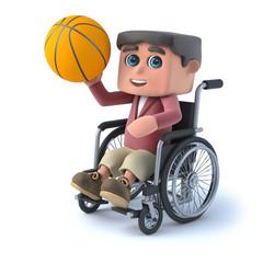 3d Boy in wheelchair plays basketball