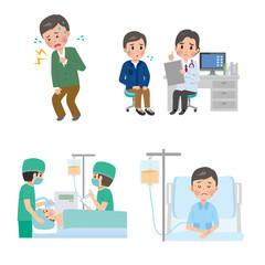 男性 病院  病気 手術