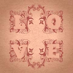 Vintage love word