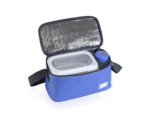 Blue cooler bag filled with plastic bottle and boxes
