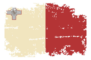 Maltese grunge flag. Vector illustration.