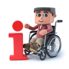 3d Boy in wheelchair has information