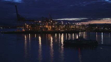 Twilight Burrard Inlet Ferry Vancouver